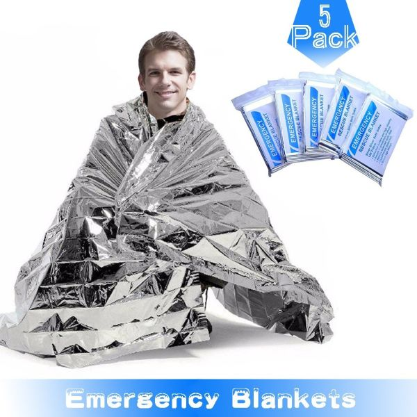 RISEN Emergency Blankets(5-Pack) with Waterproof Silver Mylar and up to 90%  Heat Retention Thermal Blankets for First Aid Kit, Outdoors Survival,