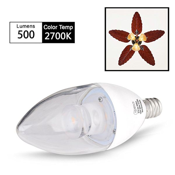 Candelabra LED Bulb, 6W (60 Watt Equivalent), E12 Base, 2700K Warm White