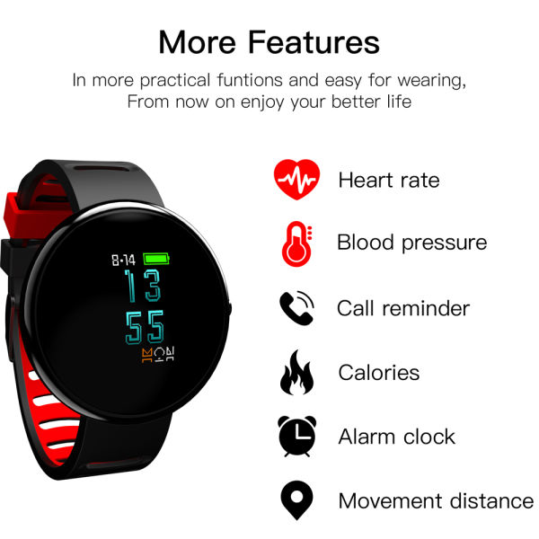 "CYBORIS Fitness Tracker with 0.96"" 2.5D Arc OLED Colourful Touch Screen Bluetooth 4.2 Smart Bracelet Blood Pressure Heart Rate Monitoring Wristband Waterproof Pedometer Sleeping for Android IOS-Black"