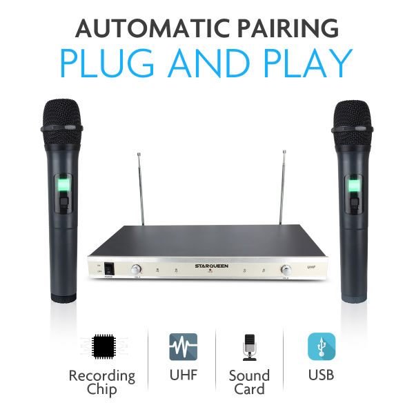 Starqueen Dual UHF Wireless Karaoke Speaker Microphones System for PA  Speaker,Computer PC Home KTV,Cordless Handheld Portable Dynamic Mic Battery
