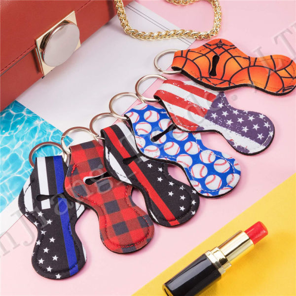 Lilly Neoprene Lipstick Chapstick Holder Keychain Key Chain Lip Balm Cover Essential Oil Tube Box Cases Bag Charm Pendants A52907