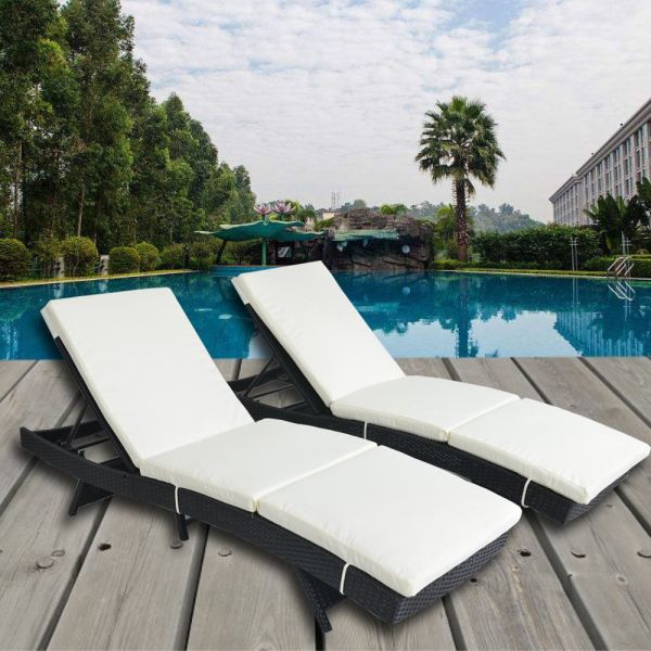 2pcs Patio Black Woven Rattan Lounge Chair Outdoor Portable Chaise Couch Furniture Adjule Wicker Pe Sunbed