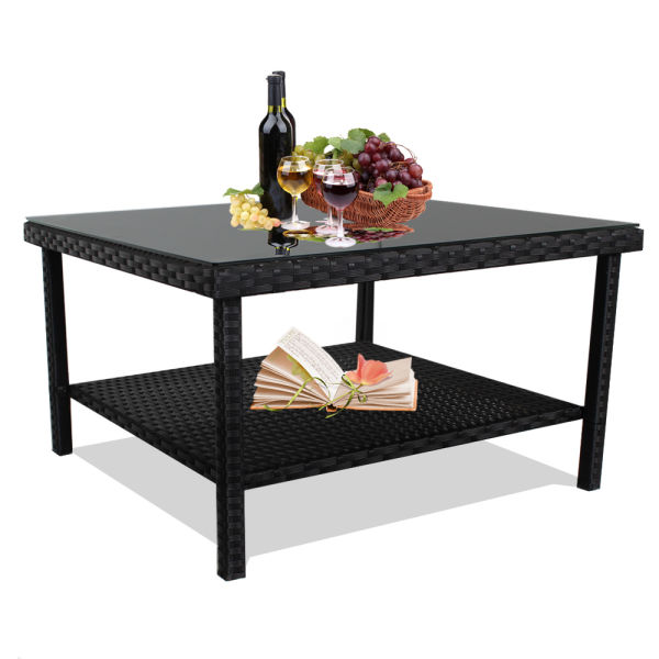 Patio Table Outdoor Indoor Square Pe Wicker Side For Tea And Coffee With Tempered Gl