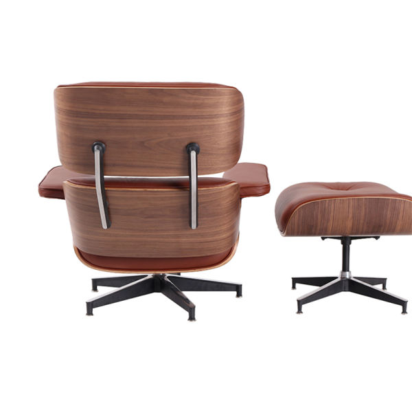 Classic style designer furniture cherry walnut wood fancy relaxation lounge chair with ottoman
