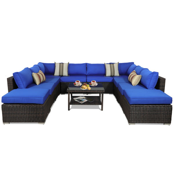 Outdoor Sectional Sofa Patio Furniture Brown Wicker Garden Rattan Sofa Set  11Pcs Outside Couch Porch Seating Royal Blue Cushion 1 Set / Carton