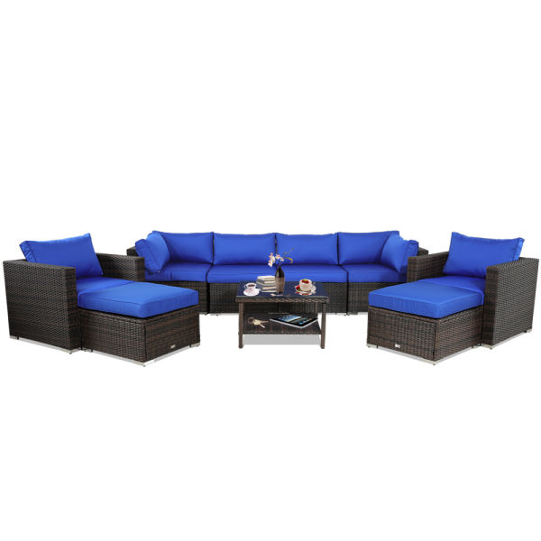 Patio Furniture Rattan Sofa 9-Piece Outdoor Sectional Couch Brown Wicker  Conversation Seating Set Porch Deck Sofa Royal Blue Cushion 1 Set / Box