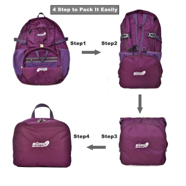 Foldable Backpack Packable Travel Backpack - 35L Durable Ultra Lightweight Water Resistant Packable Daypack Handy for Hiking, Camping, Traveling, Backpacking Outdoor Sports (Purple)