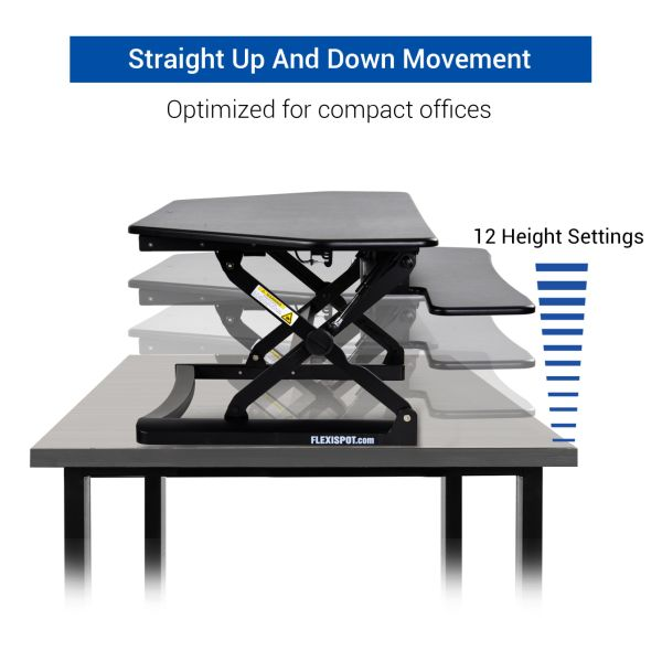 "FlexiSpot 41"" Cubicles Corner Desk Riser - Adjustable Standing Desk Convertion with Removable Keyboard Tray, Black"