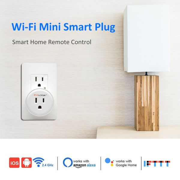 EVA LOGIK WiFi Mini Smart Plug Socket Outlet Compatible with Amazon Alexa,  Google home and IFTTT, Remote Control (ETL and FCC Listed) 1 Unit / Box