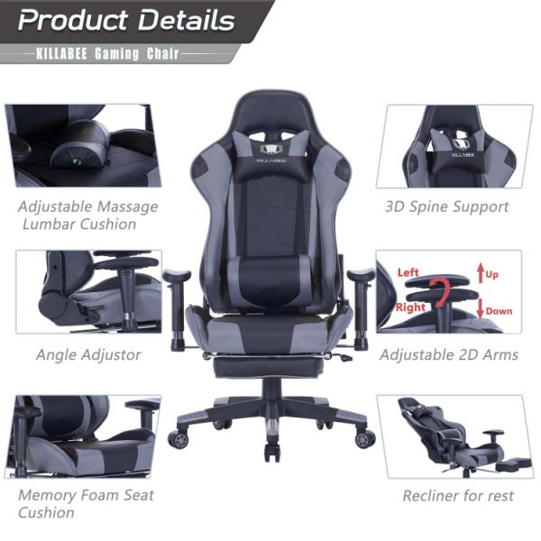 KILLABEE Big and Tall 350lb Massage Memory Foam Gaming Chair - Adjustable Massage Lumbar Cushion, Retractable Footrest and 2D Arms High Back Ergonomic Racing Computer Desk Leather Office Chair (Grey)