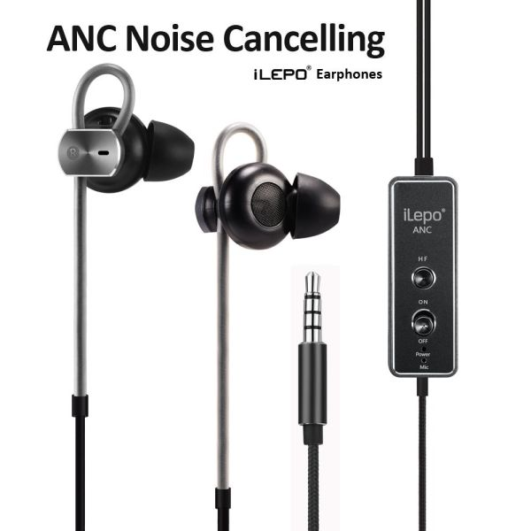 ILepo i20 Active Noise Cancelling Headphones for IOS Android Devices, Black