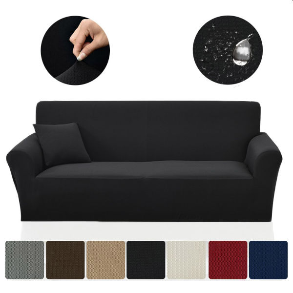 SAXTX Stretch Couch Slipcover, Waterproof Non-Slip Sofa Covers, Stains Resistant Prevent Scratches Furniture Cover Pets, Cats, Kids (Chair, Black)