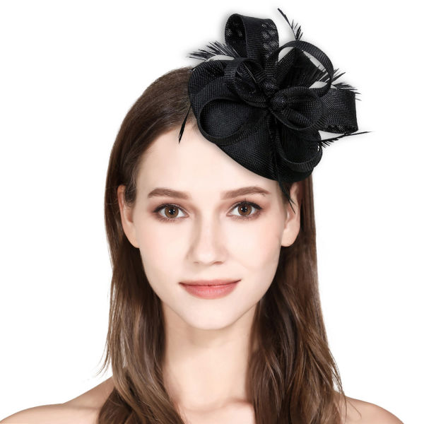 Fascinator Feather Fascinators for Women Pillbox Hat for Wedding Party  Derby Royal Banquet - Black 035d0b29a25c
