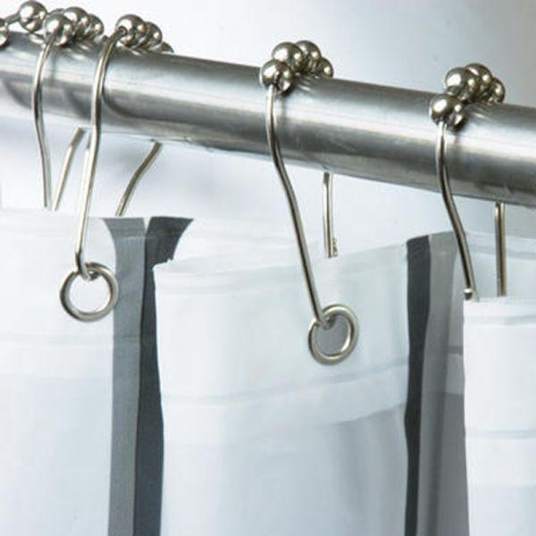 shop for 12 pack rustproof stainless steel shower curtain rings hooks for bathroom shower rod. Black Bedroom Furniture Sets. Home Design Ideas