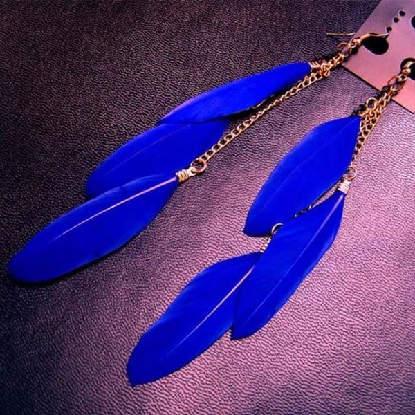 19 Colors Fashion Jewelry Fluorescent Color Exotic Dangle Earrings Long Tassel Feather Earrings for Women,14