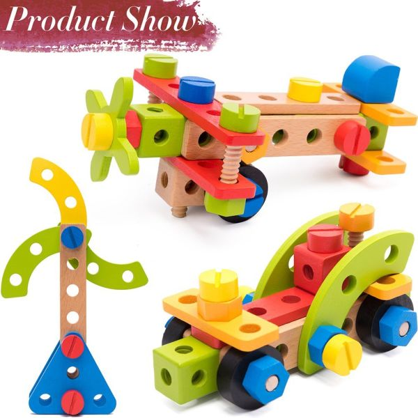 Shop For Wooden Building Toys 78 Piece For 3 Year Old Boys Stem Toys