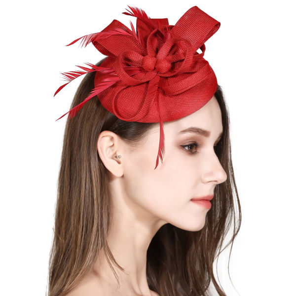07786759 Fascinator Feather Fascinators for Women Pillbox Hat for Wedding Party  Derby Royal Banquet - Red