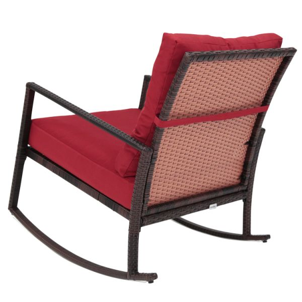 Kinbor Rattan Rocker Chair Outdoor Garden Rocking Wicker Lounge W Red Cushion 1 Piece Carton