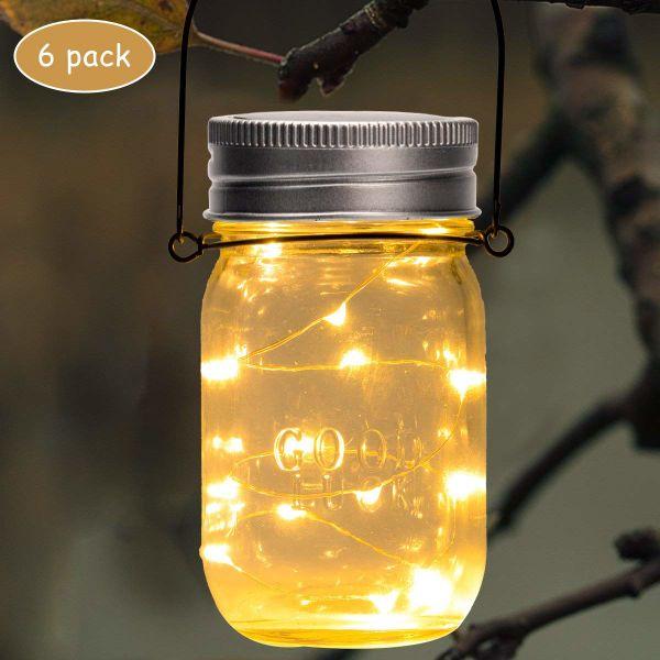 Gigalumi Hanging Solar Mason Jar Lid Lights 6 Pack 15 Led String Fairy