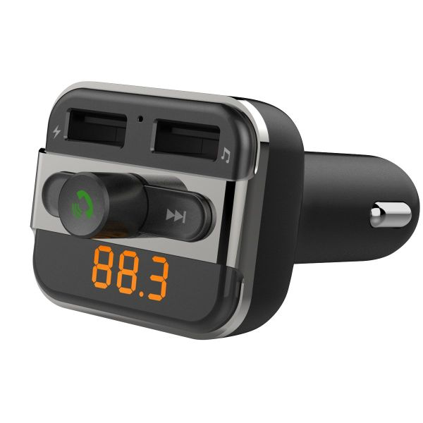 Perbeat Bluetooth Car FM Transmitter with Dual USB Charging, Remote Music Controls & Hands-Free Calling, Works with iPhone,Samsung,Android,MP3 Players .