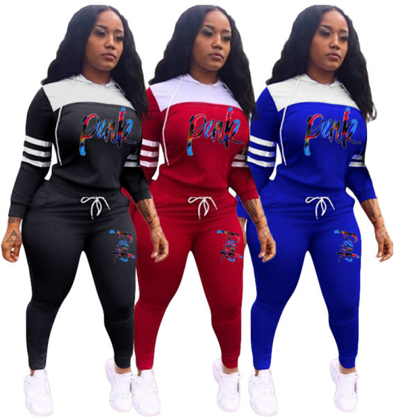 pink embroidery printed tracksuit outfits pullover hooded sweatshirt+Sweat pants 2 pieces sets winter casual sportwear clothing sets