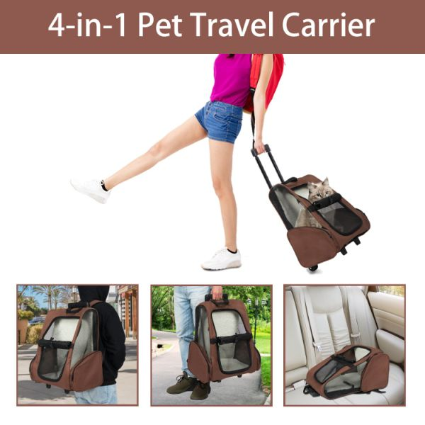 Kinpaw Pet Rolling Travel Carrier Trolley Backpack for Dogs & Cats Wheeled Pet Carrier w/ Removable Cushion Airline Approved