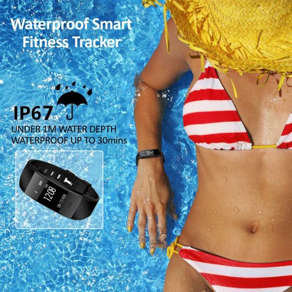 Fitness Tracker IP67 Waterproof Smart Bracelet Heart Rate Monitor /Pedometer /Alarm Clock/ Bracelet Notifications/Sleep Monitor for iPhone8 iphoen 7 Plus 6s Samsung S8 and Other Android or iOS Smartph