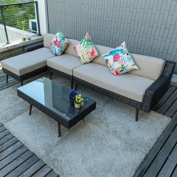 Pamapic Outdoor 4 Pieces Patio Furniture Sets Pe Rattan Wicker Garden Sofa Set With Table