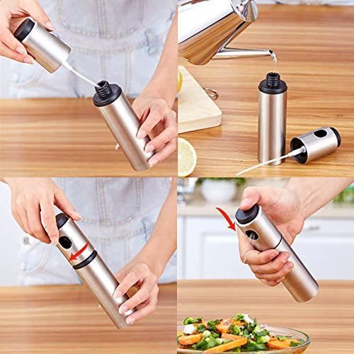 Olive Oil Sprayer Refillable Stainless Steel Wine, Oil and Vinegar Pump Sprayer for Cooking, Salad Oil Dressing, Baking, BBQ, Grilling and Roasting 100 ml Food Grade Cooking Kitchen Tool