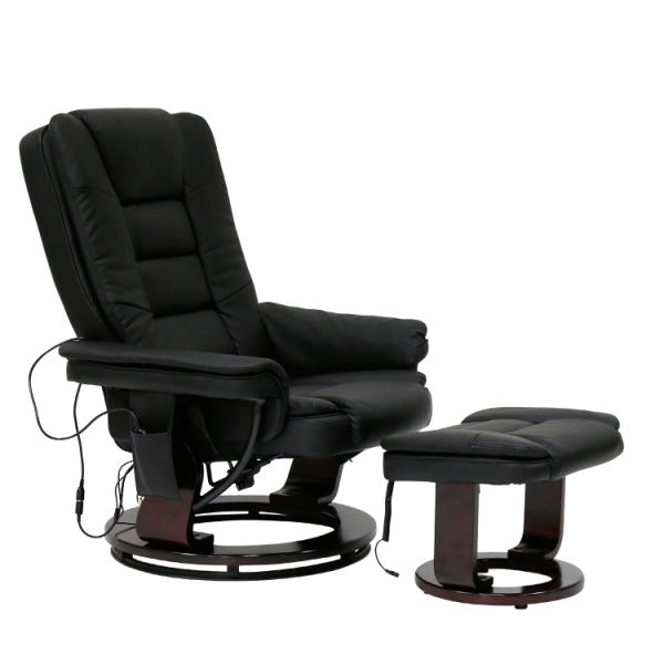 Pleasing Kinbor Contemporary Leather Lounge Swivel And Massage Recliner Chair With Foot Stool Ottoman Black 1 Piece Carton Ibusinesslaw Wood Chair Design Ideas Ibusinesslaworg