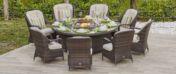 Excellent Turnbury Outdoor 9 Piece Patio Wicker Gas Fire Pit Set Round Table With Arm Chairs By Direct Wicker 1 Set Sets Cjindustries Chair Design For Home Cjindustriesco